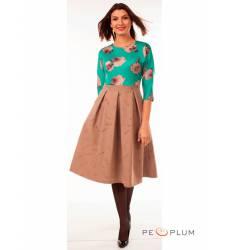 миди-платье Modeleani Повседневное платье Ретро розы изумрудный