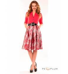 миди-платье Modeleani Повседневное платье Скарлетт малиновая печать