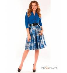 миди-платье Modeleani Повседневное платье Скарлетт лазурная печать