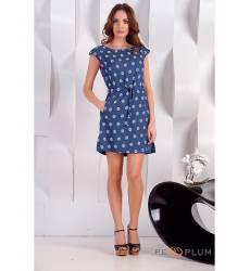 платье OleGra Повседневное платье Синее в ромашку