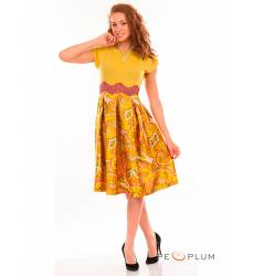 миди-платье Modeleani Повседневное платье Ретро желто-анисовый
