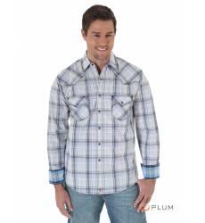 рубашка Wrangler Рубашка в клетку с длинным рукавом White Blue Grey