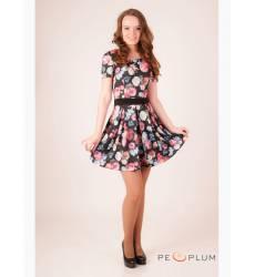 платье OleGra Платье Цветы Черное