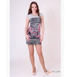 платье OleGra Платье Город Серо-Розовый