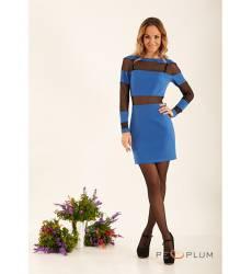платье Zean Платье Светло-Синее с Сеткой