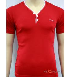 футболка Glacier Однотонная футболка Стрейч v-ворот с пуговицами кр