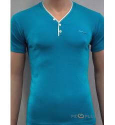 футболка Glacier Однотонная футболка Стрейч v-ворот с пуговицами би