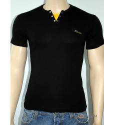 футболка Glacier Однотонная футболка Стрейч v-ворот с кнопками черн