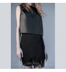 NIRVANA.MODA черный кожаный топ c партупеей Leather Top-black 36094373