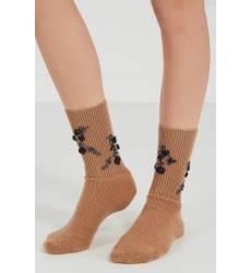 носки No.21 Коричневые шерстяные носки с вышивкой