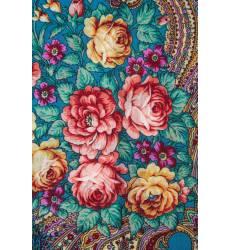 Бирюзовый платок с розами и завитками Бирюзовый платок с розами и завитками