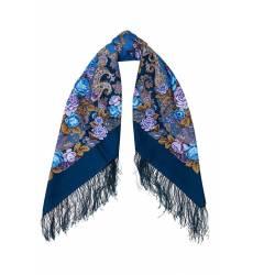 платок Павловопосадская Платочная Мануфактура Синий платок с цветами