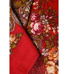 платок Павловопосадская Платочная Мануфактура Бордовый платок с розами