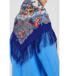 платок Павловопосадская Платочная Мануфактура Синий платок с розами и лилиями