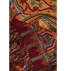 платок Павловопосадская Платочная Мануфактура Коричневый платок с восточными узорами