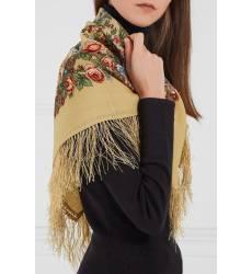 платок Павловопосадская Платочная Мануфактура Желтый платок с полевыми цветами