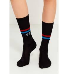 носки No.21 Черные хлопковые носки с полосками