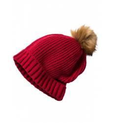 Вязаная шапочка с помпоном (темно-красный) Вязаная шапочка с помпоном