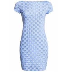 платье Oodji Принтованное платье с коротким рукавом