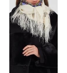 платок Павловопосадская Платочная Мануфактура Белый платок с цветочным орнаментом