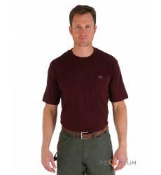 футболка Wrangler Однотонная футболка Burgundy Pocket T-Shirt