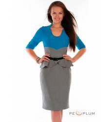 миди-платье Modeleani Офисное платье Ниагара полоска лазурный
