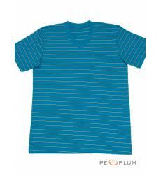 футболка Tillo Футболка в полоску Бирюзовая с серым V-ворот