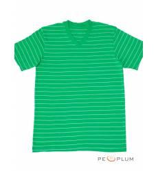 футболка Tillo Футболка в полоску Салатовая с серым V-ворот
