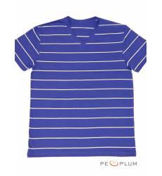 футболка Samo Футболка в полоску Темно-синяя с белым V-ворот
