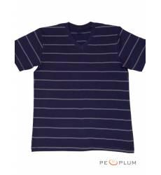 футболка Tillo Футболка в полоску Темно-синяя с серым V-ворот